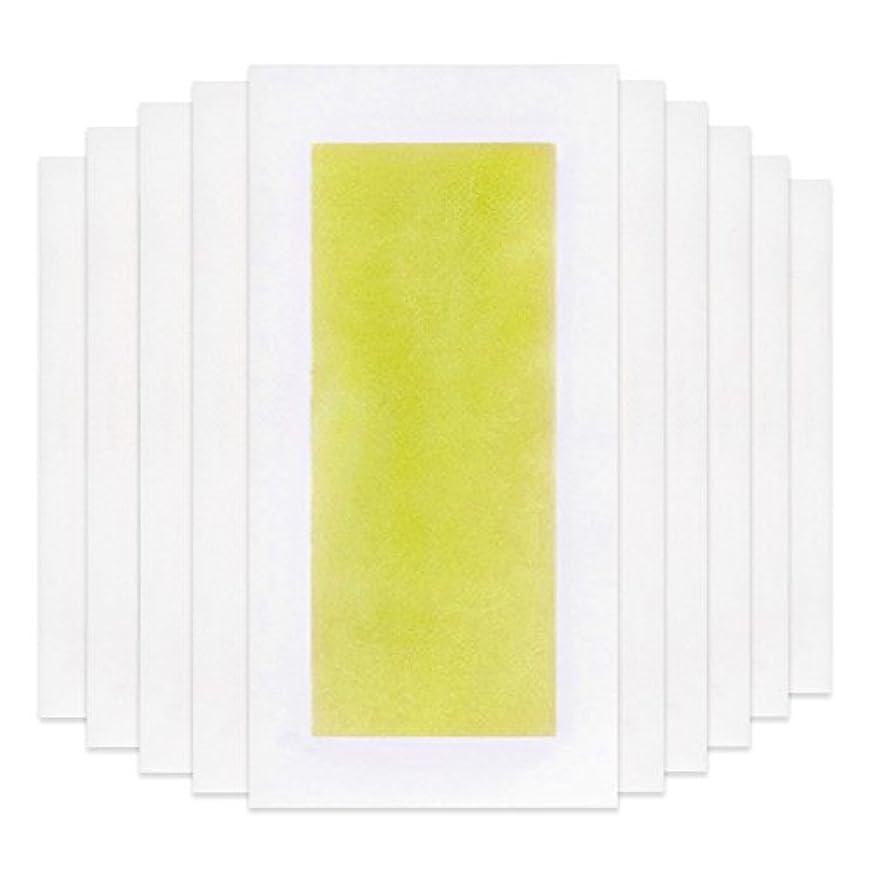 すばらしいです発明する教えRabugoo 脚の身体の顔のための10個のプロフェッショナルな夏の脱毛ダブルサイドコールドワックスストリップ紙 Yellow