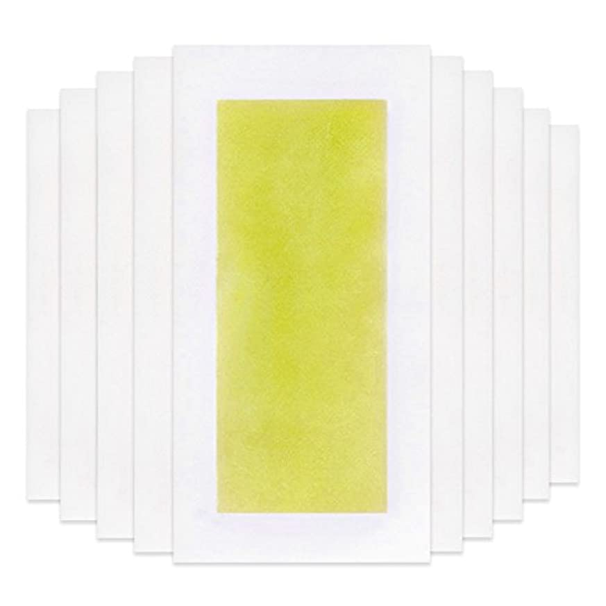 ピザジョリー穏やかなRabugoo 脚の身体の顔のための10個のプロフェッショナルな夏の脱毛ダブルサイドコールドワックスストリップ紙 Yellow
