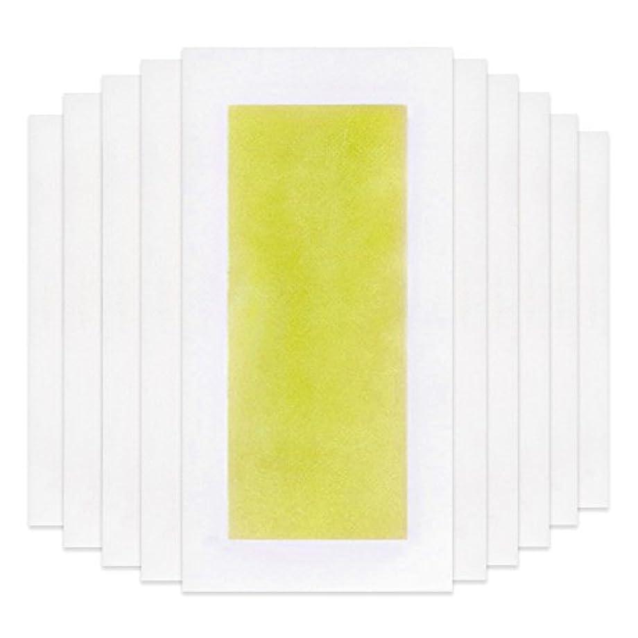 謎めいた乱す女将Rabugoo 脚の身体の顔のための10個のプロフェッショナルな夏の脱毛ダブルサイドコールドワックスストリップ紙 Yellow