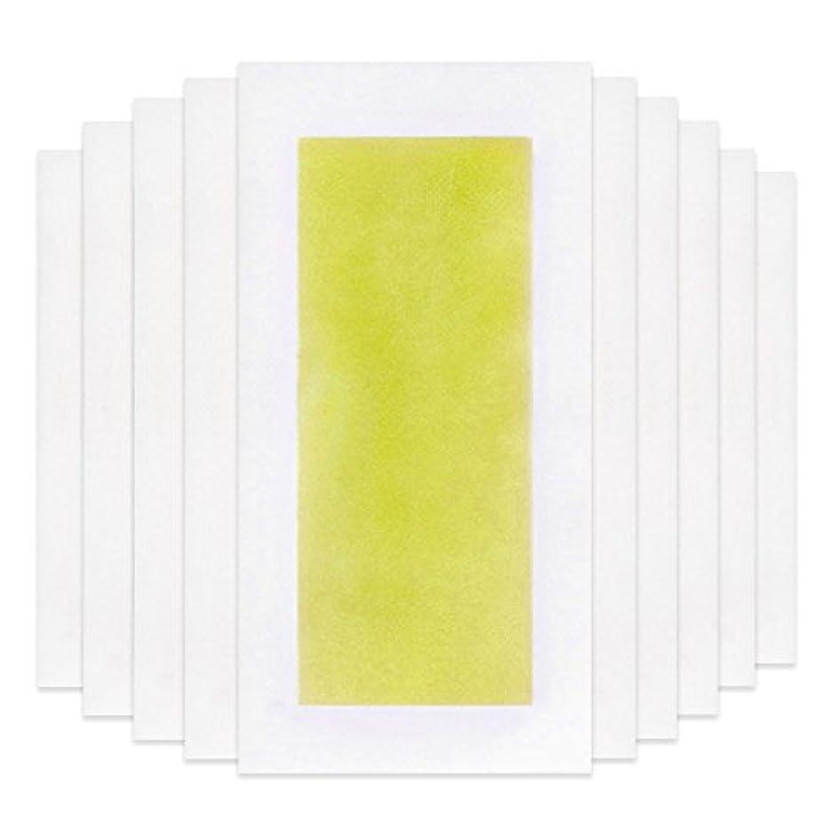 グローバル動物等Rabugoo 脚の身体の顔のための10個のプロフェッショナルな夏の脱毛ダブルサイドコールドワックスストリップ紙 Yellow