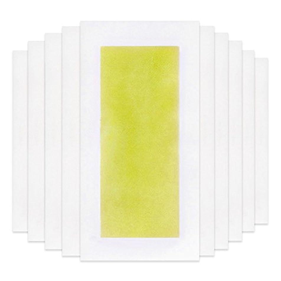 忌まわしいクリック緑Rabugoo 脚の身体の顔のための10個のプロフェッショナルな夏の脱毛ダブルサイドコールドワックスストリップ紙 Yellow