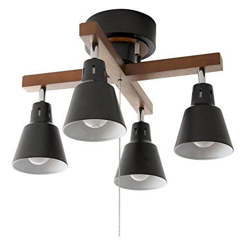 シーリングライト LED 電球対応 4灯 間接照明 スポットライト 6畳 8畳 リビング ダイニング 照明 manis〔マニス〕 ブラック×ブラウン(クロス)