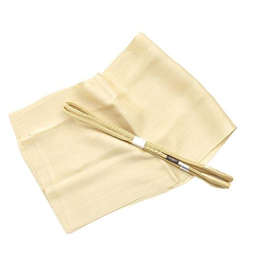 ノーブランド品 女性 帯締め 帯揚 2点セット 別誂え 正絹 草木染め 並尺 花やわらぎ 白茶