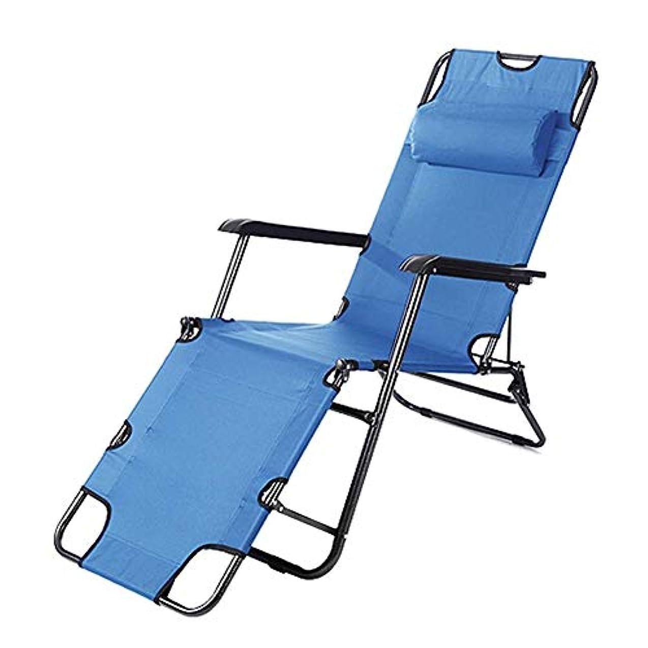 ストレッチ武装解除米国ヘッドレストが付いている青い折り畳み式のリクライニングサンラウンジャー - キャンプガーデンパティオビーチ屋内用または屋外用リクライニングチェアベッドチェア、サポート100kg