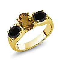 Gem Stone King 1.48カラット 天然石 ウィスキークォーツ 天然 オニキス シルバー925 イエローゴールドコーティング 指輪 リング