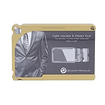 超便利! アルミブロック削りだし クレジットカードケース Decadent Minimalist デカデント ミニマリスト 金色 4カード収納タイプ