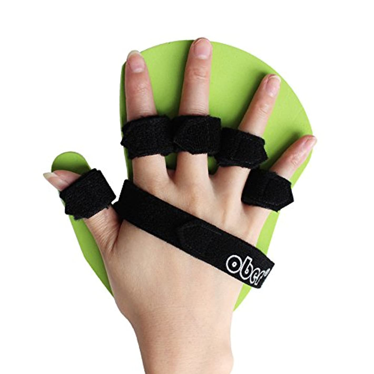 ロイヤリティ柔らかい潤滑するOBER 指用ストレッチボート 指を分離するための固定機材 指を伸ばすための矯正器 脳卒中麻痺リハビリストレッチボート (右手, M:14-17cm)