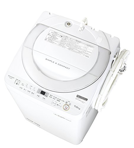 シャープ 全自動洗濯機 ステンレス穴なし槽 7kg ホワイト...