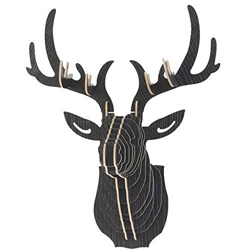 Umora オブジェ 鹿 ディア シフゾウ 壁飾り 壁掛け アニマルヘッド インテリア3D DIY (ブラック)
