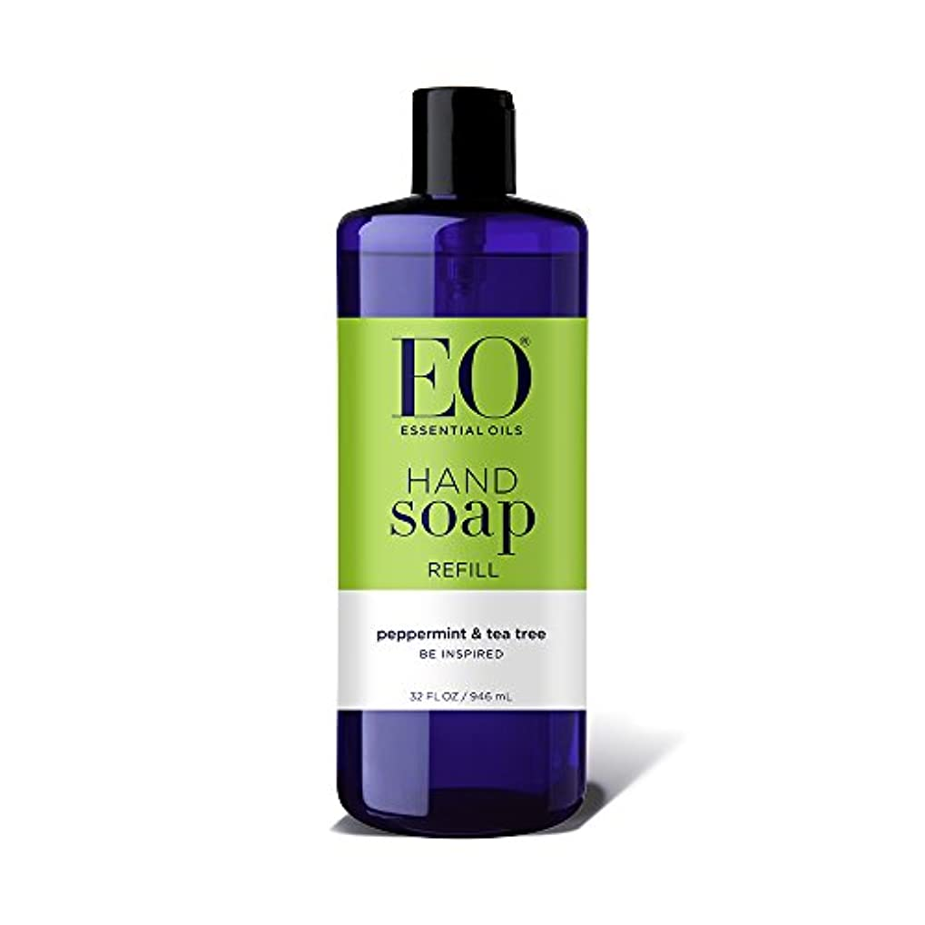 好意シュート国籍海外直送品EO Products Hand Soap Peppermint Refill, Refill Peppermint & Tea, 32 Oz