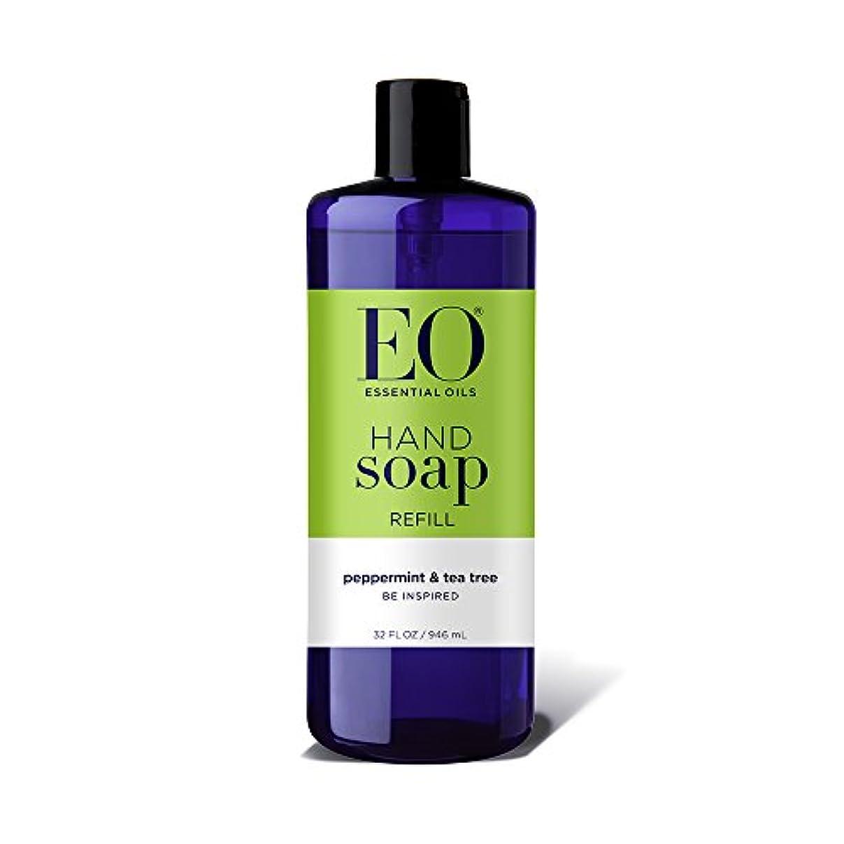 頬こんにちは生物学海外直送品EO Products Hand Soap Peppermint Refill, Refill Peppermint & Tea, 32 Oz