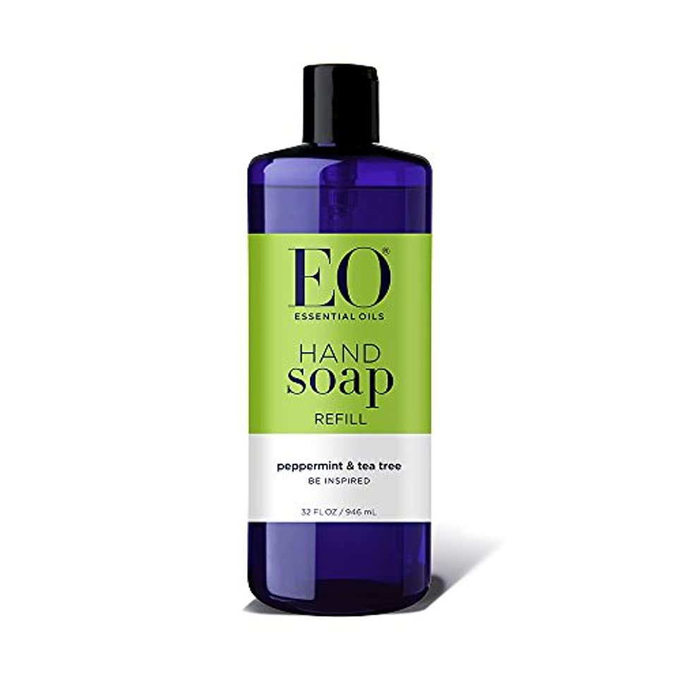 皮まとめる明るい海外直送品EO Products Hand Soap Peppermint Refill, Refill Peppermint & Tea, 32 Oz