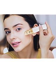 PINGF ヒートカッター,フェリエ, レディースシェーバー 電動 フェイスシェーバー 脱毛器 女性 顔剃り 回転式 電池式 LEDライト付き