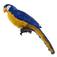 Flameer 置物 鳥の装飾 現実的 オウム 人工羽毛 全7色 ガーデン 芝生 オーナメント 手作り 動物モデル ギフト - 青