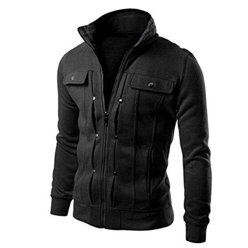 OVERMAL Mens Jackets Winter Tops Fashion Mens Slim Designed Lapel Cardigan Coat Jacket (L, Black)