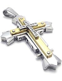[テメゴ ジュエリー]TEMEGO Jewelry メンズキュービックジルコニアステンレススチールヴィンテージペンダントゴシッククロスネックレス、ゴールデンシルバー[インポート]