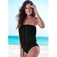 Noctflos Women's Strapless Bathing Suit One-Piece Swimsuit, 4 Colors