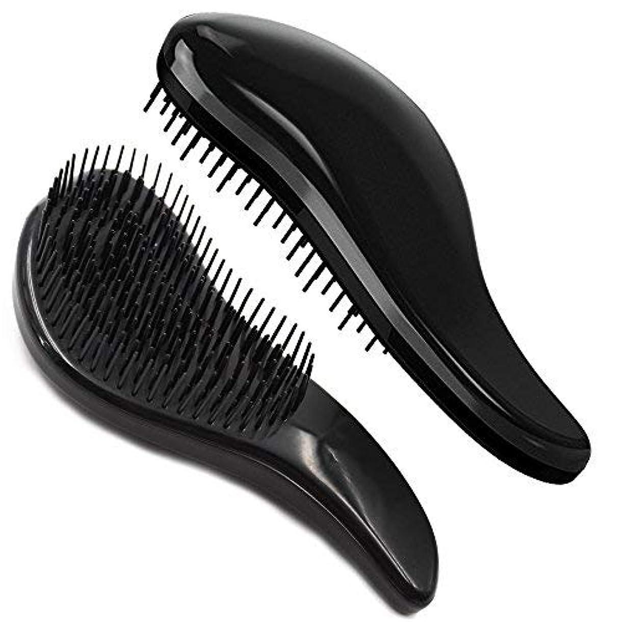 治療文字私たち自身Brush Master Detangler Hair Comb Hair Brush for Wet Hair Curly Hair Straight Hair for Women Men Kids Black [並行輸入品]