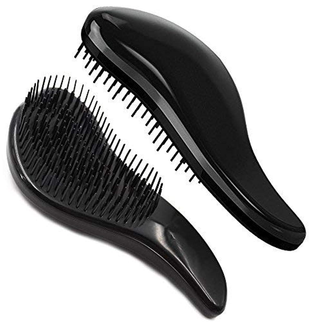 サイズ自分を引き上げる無知Brush Master Detangler Hair Comb Hair Brush for Wet Hair Curly Hair Straight Hair for Women Men Kids Black [並行輸入品]