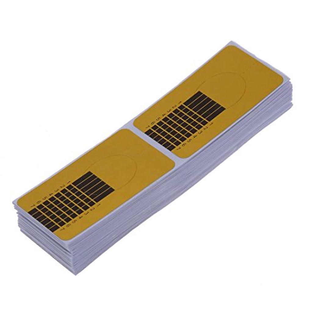 ガイドステッカー,SODIAL(R)100xネイルアートチップ ゴールデン拡張ガイドフォーム DIYツール アクリル系UVジェル