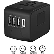 Universal Travel Adapter, LWD All-in-one International Power Adapter with 2.4A Dual USB, Europe Adapter Travel Power Adapter Wall Charger for UK, EU, AU, Asia Covers 150+Countries