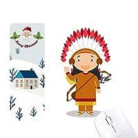 土着の部族の米国の漫画 サンタクロース家屋ゴムのマウスパッド