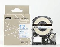 キングジム テプラPro用 互換 テープカートリッジ SS12BW(SS12Bの強粘着) 12mm 白地青文字