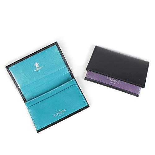 エッティンガー VISITING CARD CASE 名刺入れ カードケース ブラック ST143JRB メンズ ブラック/パープル (並行輸入品)