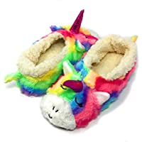 Oooh Geez Fluffy Animal Slipper My Unicorn All Amazingly Soft Sherpa Non-Skid Sole Size Large