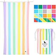 Rainbow Beach Towels for Travel - Unicorn Waves, Extra Large (200x90cm, 78x35)- Cabana Towel with Stripes, Qui