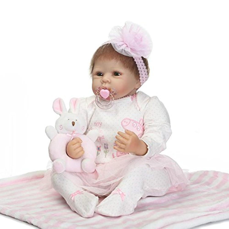 Rebornで新生児ガールズソフトビニールベビーシリコン人形22インチRealistic子供磁気おもちゃおしゃぶりOpen Eyes