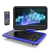 ポータブル DVDプレーヤー 10.5インチ COOAU 車載DVD 高画質液晶スクリーン 5時間連続再生 270°回転 リージョンフリー CPRM/USB/SD/MMC対応 リモコン&日本語説明書付き 一年保証 青