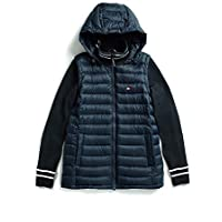 Tommy Hilfiger Adaptive Womens 7696636 Puffer Jacket with Knit Sleeves and Magnetic Zipper Jacket - Blue