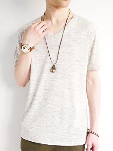 (モノマート) MONO-MART Vネック カットソー フライス ストレッチ Tシャツ 色 半袖 デザイン メンズ オートミール Lサイズ