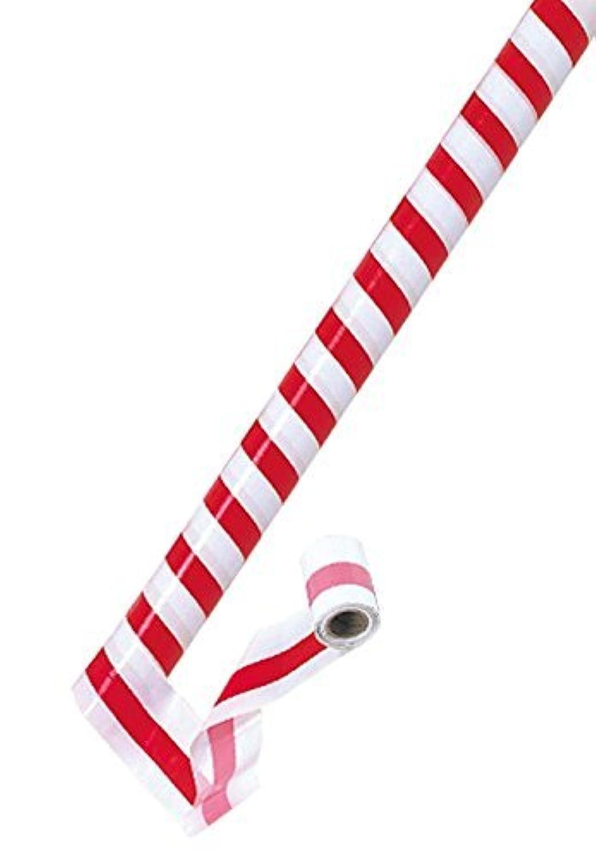 ポリ/ビニール 紅白テープ(柱巻)7.5cm×50m