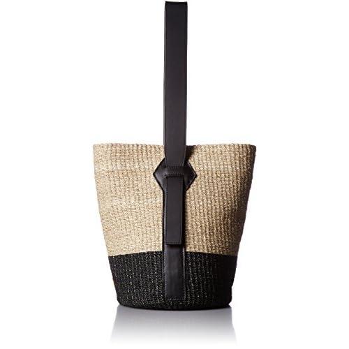 [ヴィオラドーロ  レザーワンハンドルバスケットバッグ V-8125a natural x black] カゴバッグ ワンハンドル、バケツ型、バッグインバッグ v-8125a NA x BK naural x black