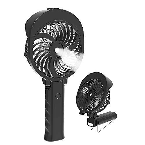扇風機 ミスト、 HandFan 手持ち扇風機/卓上扇風機 折れ變化 噴霧の扇風機 携帯扇風機 加湿 ミニ USB充電式 扇風機 「6枚羽根」「スチーム噴霧付き」「LEDライト付き」「傘に扇風機がつける」 +「充電式のバッテリー」ハンディーファン 猛暑対策として【 水スプレー蒸発 迅速な冷却】