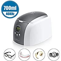Ultrasonic Cleaner 700ml Jewelry Cleaner Machine with Cleaning Basket, watch holder, Disk Holder for Cleaning Jewelry, Eyeglasses, Earrings, Rings, Necklaces, Coins, Razors, Dentures, Combs, Tools, CDs, Instruments