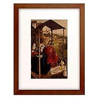 Meister der Landsberger Geburt Christi 「Maria und Joseph in Verehrung vor dem Jesuskind. 1460.」 額装アート作品