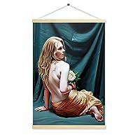 ウォールスクロール絵画、ボディアートぶら下げ絵画ウッドフレーム油絵家の装飾絵画ポスター背景壁のギフト60x120センチ,5
