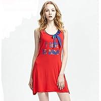 GAODUZI ベスト睡眠スカート女性夏のパジャマ手紙かわいいモーダルホームサービススカート大きなサイズのルーズドレス