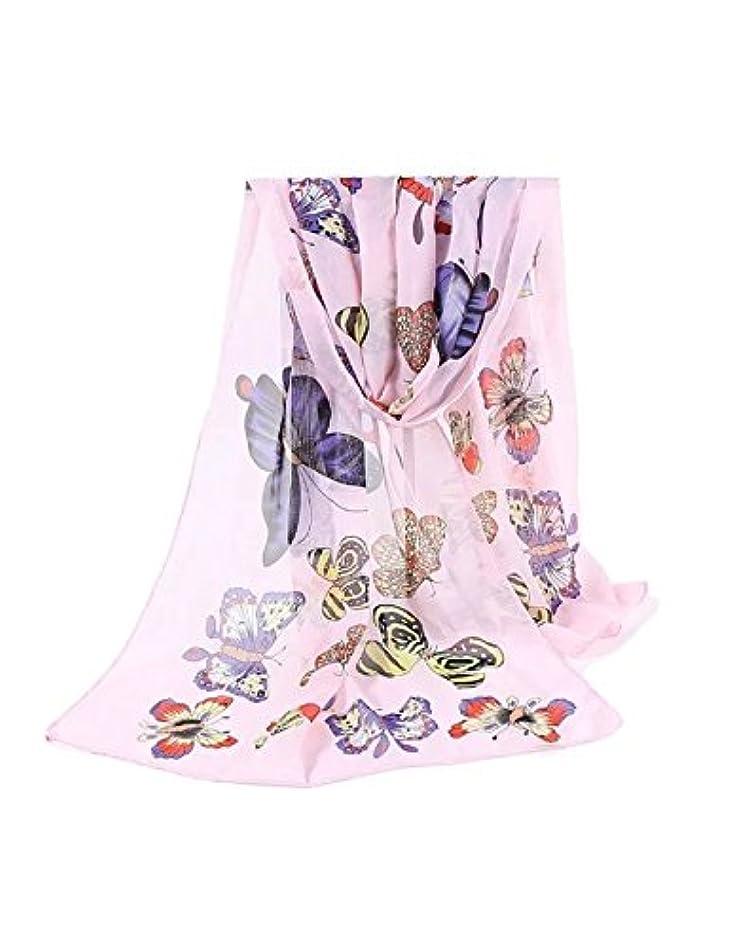 ラバラフ睡眠役職ビエスディディ レディース 全8色 ファッション シフォン 防紫外線 日焼け止め UVカット 蝶プリント ロング スカーフ