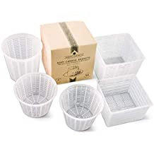 Cheese Maker Moulds Set of 5 - for Draining Ricotta Sour Cream and Quark - Press Indian Paneer Goat Crottin Kefir Vegan Ricotta Cashew or Almond Cheese - Italian Soft Cheese Basket Set