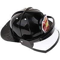 B Baosity キッズ ファイヤーマンチーフ 消防士 安全ヘルメット 調整可能な 帽子 黒