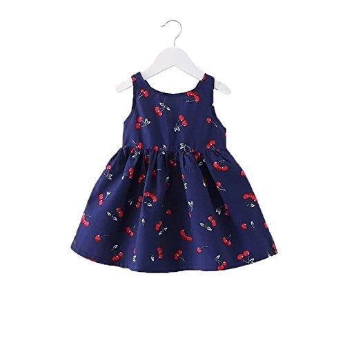 Pojour 夏 0-2歳 2-7歳キッズキャミソール 女の子可愛いドレス 通気 綿 ワンピース ブルー(100cm)