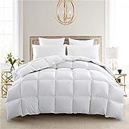 Puredown Lightweight Down Comforter, Light Warmth Duvet Insert, Twin, White