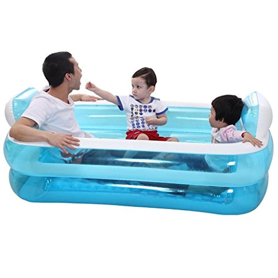 文字アッティカス美徳折りたたみインフレータブル風呂幼児男の子風呂ホームインフレータブルバスタブブルー透明玩具収納プール