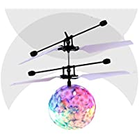 Singleluci RC Flying Ball, RC Drone Helicopter Ball Built-in Shinning LED Lighting for Kids Teenagers Blue [並行輸入品]