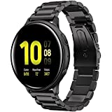 Shangpule Compatible for Galaxy Watch Active 2 40mm Bands, Active2 44mm Band, 20mm Stainless Steel Strap Compatible for Samsung Galaxy Active 2 (Black)