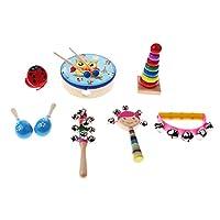 Perfk 全3種類 赤ちゃん楽器おもちゃ タワー セミサークルラトル ハンドベル トロメル キャスタネット マラカス - 8個
